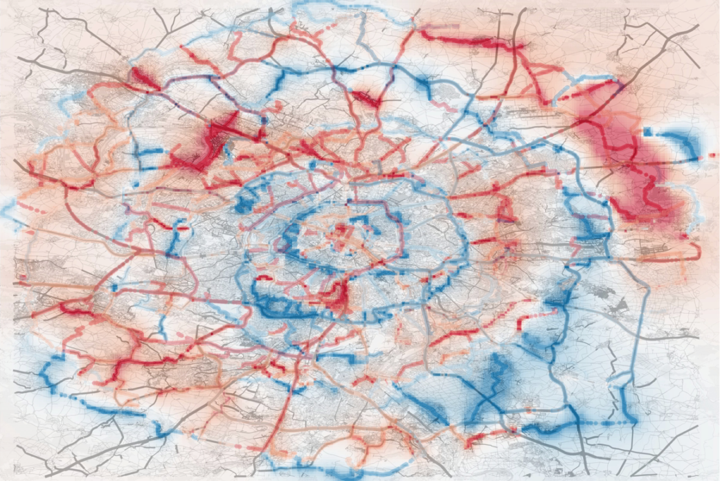 "The ""inness"" pattern of Paris. In blue regions, travel paths tend to go away from the city center; in red regions they go inwards towards the city center.<br />From: M Lee, H Barbosa, H Youn, P Holme, G Ghoshal, Morphology of travel routes and the organization of cities, Nature Communications 8, 2229 (2017)."